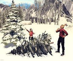 🎄 A Day at Christmas Tree Farm 🎄 (Scarlett Saphira) Tags: a day christmas tree farm happy winter preparation sl secondlife second life game couple lovers cut cutting our trees xmas red outfit wife moments moment lifestyle ds 2019 dec snow season husband axe