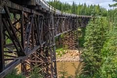 Nine-Degree Curved Timber Truss Bridge (1942) - Kiskatinaw River (MIKOFOX ⌘) Tags: canada river timbertruss bridge xt2 learnfromexif july timber wood woodenbridge fujifilmxt2 mikofox summer showyourexif xf18135mmf3556rlmoiswr proviaasbase historic