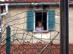 watching me (fotomie2009) Tags: valleggia finestra fence liguria italy italia bokeh window people pluviali tubi rete pali