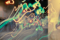 Fuite. [Escape] (Adrien GOGOIS) Tags: fujica ax3 ebc xfujinon dm 50mm f16 cinestill 800 double exposition film vintage old classic manual camera lens glass line curve perspective street color colorful green warm grain iso light night low tungstene city scape urban nice french riviera life