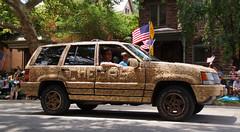 Cheers (wwimble) Tags: doodahparade 2014 shortnorth columbus ohio independenceday fourthofjuly parade cheers cork car artcar flags