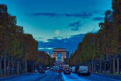 Beautiful Paris (jeromedelaunay_paris) Tags: city sky people moon paris france history monument colors clouds lune photography europe cityscape cities histoire monuments champsélysées iloveparis avenuedeschampselysées parisjetaime parismonamour
