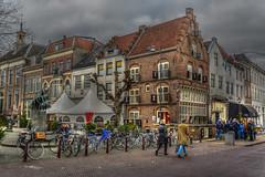 Markt Zaltbommel (stevefge) Tags: 2019 gelderland zaltbommel nederland netherlands nl nikon nederlandvandaag street people candid bicycles bikes houses gevels gables