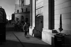 Threadneedle Street (cybertect) Tags: bank bankofengland carlzeissdistagont25mmf28mm cityoflondon ec2 london londonec2 londonunderground sonya7ii threadneedlestreet tube undergroundstation blackwhite blackandwhite corner entrance monochrome shadow england unitedkingdom