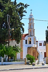 church in the village :) (green_lover (your COMMENTS are welcome!)) Tags: church psinthos rhodes greece town street sidewalk fence architecture