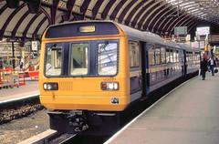 York 142077 York to Harrogate  8th Sept 90 C15394 (DavidWF2009) Tags: ecml york class142 pacer