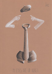 My eyes are up here ! (Klaas van den Burg) Tags: invisble woman beret gloves shorts tie colored pencils humor absurd surreal