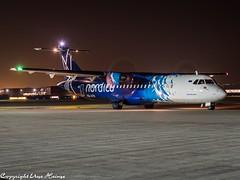 Nordica ES-ATB HAJ at Night (U. Heinze) Tags: aircraft airlines airways airplane planespotting plane olympus omd em1markii 1240mm night haj hannoverlangenhagenairporthaj eddv