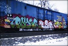 poysr - nusah - orels (timetomakethepasta) Tags: poysr nusah orels zee blue22 freight train graffiti art sp southern pacific blue boxcar golden west service