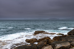 Moody Morning Seascape (Merrillie) Tags: daybreak sunrise puttybeach nature australia nsw centralcoast overcast clouds sea newsouthwales rocks earlymorning morning bouddinationalpark landscape ocean outdoors cloudy waterscape coastal rocky sky seascape dawn coast water waves