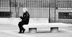 On The Edge Of My Seat (jaykay72.) Tags: london uk street candid streetphotography paternostersquare stphotographia blackandwhite bw