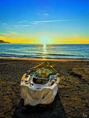 Playa Calahonda (Ian, Bucks) Tags: beach sea boat sand sunrise horizon morning early spain blue