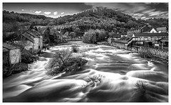 110 River Dee (georgestanden) Tags: blackandwhite black white monochrome desaturated photo photography photograph bnw art picture nature clouds fineart outdoors scenic landscape longexposure rough victorian northwales llangollen river riverdee flowing water station town welsh whitewater platfrom mountain