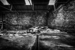 Industrial Output (RagbagPhotography) Tags: ruin industrial output decay derelict damp rubbish waste garbage interior cupar fife scotland black white blackandwhite mono monochrome