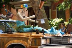 Tiki Car mermaid hood ornament (wwimble) Tags: doodahparade 2014 shortnorth columbus ohio independenceday fourthofjuly parade tikicar mermaid unhanded hoodornament swimcap artcar