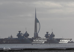 TWO CARRIERS (mark_rutley) Tags: hmsqueenelizabeth hmsprinceofwales aircraftcarrier portsmouth portsmouthdockyard spinnakertower spinakertower ships maritime royalnavy navy warship