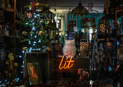 Lit (HW111) Tags: christmas christmastree lights lit reflection window windows words emporium santa books ornaments night owl hww
