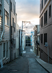 Alleyway at Dusk in San Fransisco, California (ChrisGoldNY) Tags: sf sanfrancisco california usa america sony norcal westcoast bookcovers albumcovers licensing sonyalpha sonyimages chrisgoldny chrisgoldberg chrisgoldphoto sonya7rii city windows light urban architecture buildings reflections alley dusk overcast alleyways thebayarea
