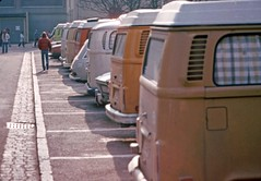 Seven Volkswagen, camper vans, Lahr, West Germany,  1978 (D70) Tags: seven volkswagen camper vans lahr west germany feb 19 1978 westphalia vw canadian caserne base sevenvolkswagen campervans westgermany feb19 military halfframe film scanned olympus penf february19