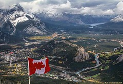 Town of Banff, Tunnel Mountain and the Bow River Valley from atop the Banff Gondola (PhotosToArtByMike) Tags: banff tunnelmountain bowrivervalley townofbanff banffgondola bowriver banffnationalpark canadianrockies rockymountains albertacanada mountain mountains alberta arealview