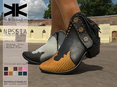 Nessia :: Cowgirl Ankle Boots :: 10 Colors (///////////////-//////////////) Tags: kokoia boots boot cowboy cowgirl west heel maitreya slink tmp belleza high shoes ankle nessia secondlife secondlifefashion secondlifeshoes 3dshoes 3d