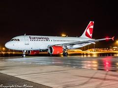 Eurowings OK-NEM HAJ at Night (U. Heinze) Tags: aircraft airlines airways airplane planespotting plane olympus omd em1markii 1240mm night haj hannoverlangenhagenairporthaj eddv