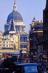 St. Paul's from Fleet Street (AntyDiluvian) Tags: england greatbritain britain london vintage 1973 1970s stpauls cathedral dome street fleetstreet