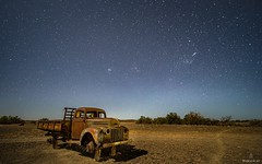 A Night in the Karoo (Wim Air) Tags: laowa venus optix moonlight desert karoo south africa wimairat oldtimer car old sand stones night nightscape landscape