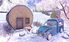 We have already reached the destination (Rose Sternberg) Tags: deco decor home furniture garden interior outdoor landscape second life december 2019 exclusive for we 3 roleplay event your dreams sequoia house snow roof snowman christmas gift vanity serenity style holidays car uber happy mood dirt road