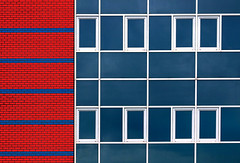 Complexity (HWHawerkamp) Tags: nl groningen architecture building facade windows red blue graphics abstract travel colours