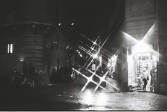 Roma (goodfella2459) Tags: nikonf4 afnikkor50mmf14dlens kodaktrix400 35mm blackandwhite film analog night roma city streets road buildings filter crossstarfilter italy rome lensfiltersgroup bwfp