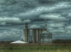 Giants.... (Sherrianne100) Tags: hdr clouds moody ominous cow grainelevators rural missouri
