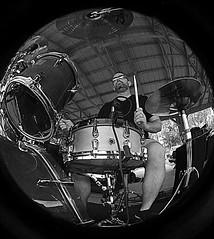 """Fish Eye Drummer"" (RKen68) Tags: blackandwhite fisheyelens hdr highdynamicrange brother drummer"