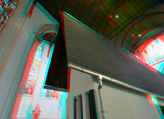 Narrow House by Erwin Wurm  in Oude Kerk Delft 3D (wim hoppenbrouwers) Tags: narrowhouse erwinwurm oudekerk delft 3d anaglyph stereo redcyan d7000 1224nikkor nikon