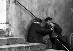 take it easy (lucafabbricesena) Tags: people ravello italy costieraamalfitana streetshot blackandwhite oldman nikon d800 chatter square smoker portrait friends city bw serenity streetphotography urbanexplorer urban street