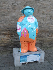 Snowman Trail 3 French Hens (Nekoglyph) Tags: snowman three french hens bright colourful hammo trail middlesbrough teesside publicart statue sculpture raymondbriggs wall childrens book character figure painted street graphic cartoon orange blue