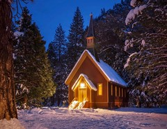 Yosemite Valley Chapel (ks_pics) Tags: yosemite kspics forest chapel california travel nightscape trees bluehour ksphotography architecture building nature park winter landscape