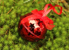 Jingle Bell (Karen_Chappell) Tags: bell red green moss macro noel holiday xmas christmas decor decoration ribbon ornament stilllife star color colour