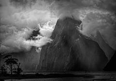 New Zealand: Milford Clouds, mono (desimage) Tags: newzealand milfordsound milfordclouds southisland wild storm drama dramatic rain fjord sea mono bw elitegalleryaoi bestcapturesaoi aoi