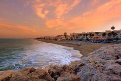 sunset (majka44) Tags: spanielsko spain andalusia sky cloud pink blue travel atmosphere evening nice mood beach architecture stone coast building sea tree palm colors sunset