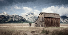 Mormon Barn - Textured (byron bauer) Tags: byronbauer mormonrow grandtetons landscape texture painterly field plain grass old barn teton mountains clouds sky nationalpark wyoming topaz impression restyle blue weathered elitegalleryaoi bestcapturesaoi aoi