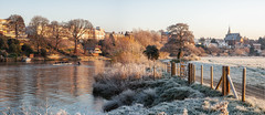 Chester Meadows Panorama (Rob Pitt) Tags: chester meadows panorama rowing club frost cold winter sunrise cheshire morning fence
