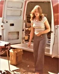 Bell Bottom Susan, Summer 1978 (Jeff R. Lonto) Tags: woman girl smoking smoker cigarette van 1970s seventies 70s jeans truck vehicle
