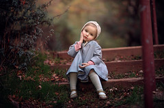 Vintage Girl ({jessica drossin}) Tags: jessicadrossin face toddler girl vintage crochet bonnet cloak shoes steps outdoors cute wwwjessicadrossincom jd quickflow actions bayleaf tint