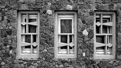 2 to the left, 3 to the right (rainerpetersen657) Tags: windows wall stones old historic historisch gdynia gdingen poland polska polen architecture architektur abstract details sony sonyalpha