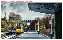 Merry Christmas! / Happy Holidays! (david.hayes77) Tags: 67014 skip class67 frodsham cheshire 2019 winter wintry snow steeple 1d34 ice transportforwales magpie station platform shelter