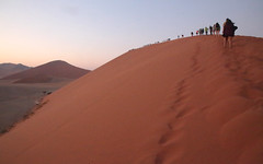 Dune Walkers (peterkelly) Tags: digital canon 6d africa intrepidtravel capetowntovicfalls namibia namibdesert namibnaukluftreserve sossusvlei dune45 people ridge sand sandy dunes dune morning sunrise dawn