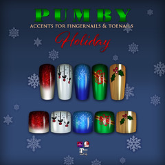 PUMBY* ACCENTS HOLIDAY COLLECTION (pumbysl) Tags: pumby slink omega maitreya mix accents second life sl nails appliers holiday festive