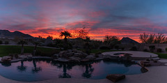 December Daybreak (Ron Drew) Tags: nikon d850 scottsdale arizona pool sunrise dawn daybreak sky clouds trees palm patio spa mountains landscape lawn panorama stitch