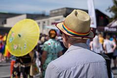Southampton Pride (Silver Machine) Tags: streetphotography street candid southamptonpride pride lgbtpride2019 man strawhat parasol fujifilm fujifilmxt10 fujinonxf35mmf2rwr